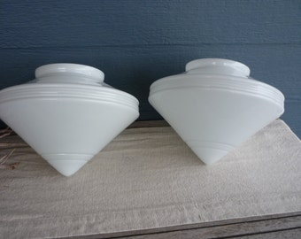 Pair of Vintage White Glass Ceiling Shades, Cone Style Atomic Ceiling Light, Mid Century Modern Lamp