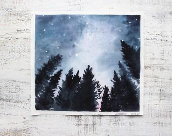 Treen in night original watercolor painting 11x10 navy blue white midnight starry night