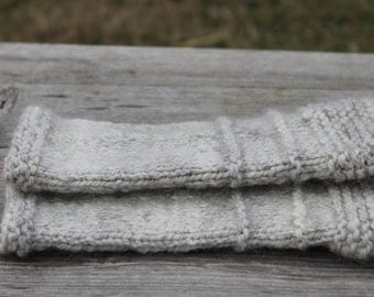 Wrist warmers, hand knit, hand spun yarn, natural, farm raised, outlander inspired