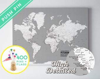 Personalized World Map Canvas Push Pin White and Grey - Ready to Hang - High Detailed - 240 Pins +198 World Flag Sticker Pack Included
