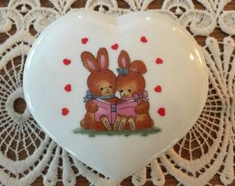 Vintage Keepsake Box, Valentines, Ceramic, Heart Shape, Bunny Couple, Jewelry Box, White, Red, Stash, Trinket Box, Heart,  Red Hearts