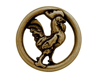 Nicky Epstein Coq 1 inch ( 25 mm ) Rooster Metal Button Brass Color