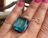 MothersDayMania Turquoise Aqua Blue Ring Vintage 1940 1950 West Germany Cocktail Statement Renaissance Wedding Reign Bridal Czech Glass