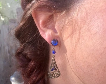 HOLIDAY SAVINGS Vauxhall Blue Earrings 1920 1930 Vintage Bridal Wedding RARE Art Deco Enamel Filigree