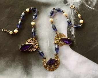 Art Deco Necklace 1920 1930 Czech Blue Purple Amethyst Glass Choker Bridal Wedding Jewelry