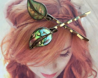 Abalone Leaf Leaves Hair Pins Bohemian Boho Hippie Sterling Silver, Vintage 1970 Mexico Woodland Wedding Goddess Bridal