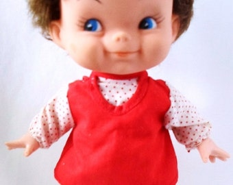 "ON SALE Vintage 10"" Camay Doll Company Plastic Doll Made In Hong Kong, Dark Brown Hair, Vinyl Head, Hong Kong Dress,USA Shoes"