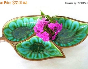 ON SALE Vintage Treasure Craft 3 Leaf Ceramic Dish in Teal, Turquoise, Green and Brown Wood Grain Design Mid Century Modern