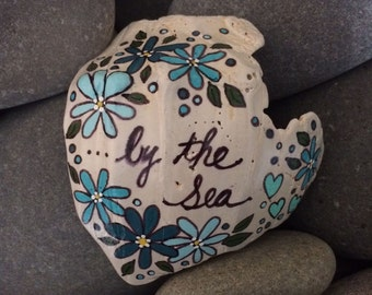 Painted sea shell - by the sea - seashell - blues turquoise flowers - stocking stuffer