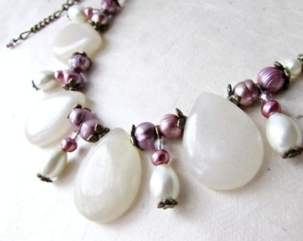 Purple Pearl Necklace with White Gemstones. Bib Necklace Statement. White Italian Onyx Teardrops with Lilac Freshwater Pearls and Crystals.