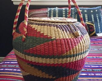 Mid Century Boho Large Pastel Cobra Basket with Lid and Handles