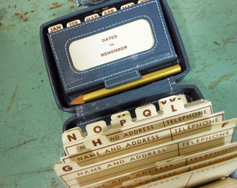 Vintage Address and Date Book in Tiny Gray Suitcase