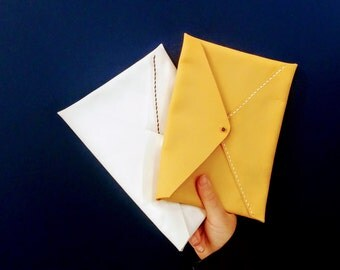 Leather Envelop Clutch / Wallet - Yellow