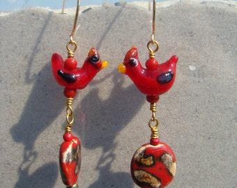 Lampwork Cardinals and Scarlet Kazuri Bead Earrings