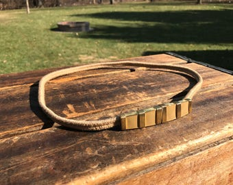 Vintage Skinny Woven Stretch Belt with Gold and Taupe Enameled Buckle