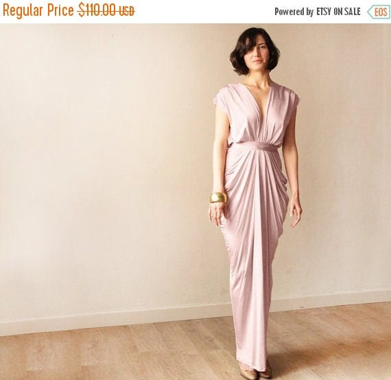 30% OFF - Blush Birthday Bridesmaid blush pink maxi gown , Maxi pink formal dress 1008