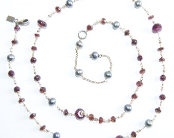 Alexis Bittar Garnet & Pearl Station Necklace Vintage Sterling Silver Handmade Charm Necklace