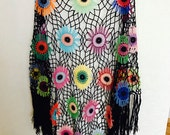 Colorful Crochet Shawl | Boho Gypsy Shawl | Hippie Patchwork | All Season Fashion | Handmade |%100 cotton-merserized