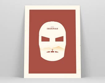 Iron Man Poster ~ Minimal Movie Poster, Retro Minimalist Art Print by Christopher Conner