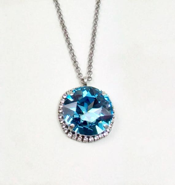 Swarovski Crystal 27 MM Aquamarine Pendant with Clear Crystal Halo - Big and Beautiful Titanic Gem - Perfect For Summer! - FREE SHIPPING