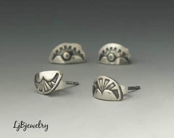 Silver Earrings, Stud Earrings, Hand Stamped Earrings, Handmade, Metalsmith, Metalwork, Sterling Silver, Artisan Jewelry
