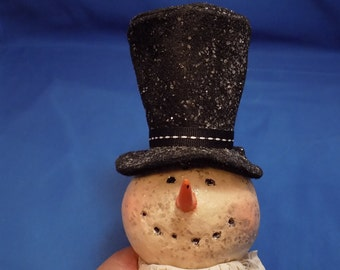 """Vintage Snowman Ornament Whimsical Snowman Glass Ornament 6 1/8"""" Tall Black And White Ornament Vintage Ornament Free Shipping"""