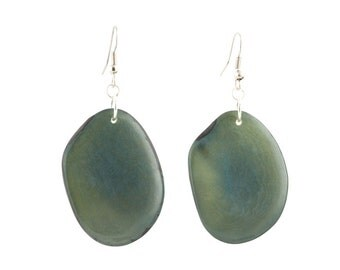 Tagua Nut Earrings / Tagua Nut Jewelry / Tagua Earrings / Statement Earrings / Tagua Seed Earrings / Moss Green Earrings / Fair Trade