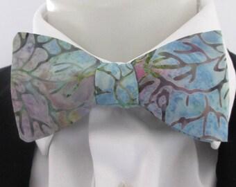 Mens Bowtie  ~ Batik fabric in muted tones  - blues ,mauve green color way   - choice of fittings ~ neoud ~ tie ~ cravat