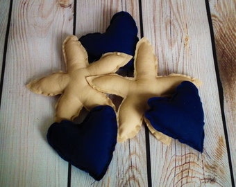 Set of 5 stuffed heart and starfish bowl fillers,  NAVY hearts and CAMEL (tan) starfish, beach centerpiece, wedding favors, made to order