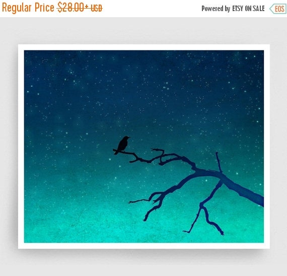 30% OFF SALE: And then... only the silence remains - Love illustration Art Print Home decor Nature print Turquoise Blue Night sky Dreamy bir