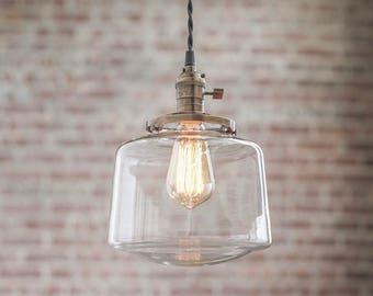 Pendant Lights - Schoolhouse Pendant -  Hanging Pendant Light - Industrial Shade Pendant - Mid Century Modern - Drum Shade