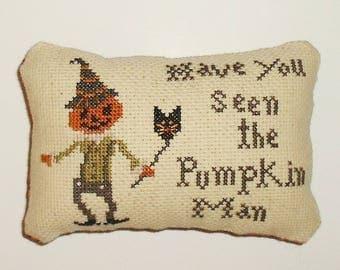 Completed Cross Stitch Primitive Pinkeep Halloween Decor Primitive Pinkeep Pincusion Pillow Ready to Ship