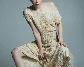 Antique, Vintage, Upcycled Bohemian, Fairy, Doily dress, wedding dress alternative wedding dress