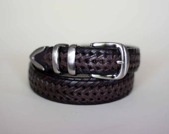 vintage brown woven leather belt with silver tone buckle size 40