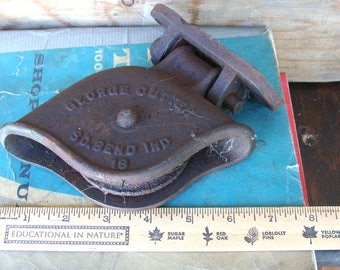 Antique Rusty Iron George Cutter #18 Barn Pulley w/ Original Repaired Cast Iron Wall Mount