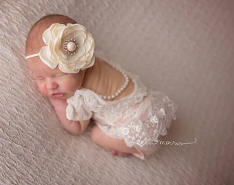 Newborn photo prop. Baby photo prop, Newborn romper, Baby romper, lace baby romper, newborn lace romper, baby romper set, newborn romper set