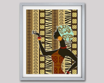 """African  Artwork, African Woman, African Painting, African Wall Decor, South African Art, African Wax Fabric  -  8"""" X 10"""""""