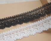 black  guipure lace trim, off white lace trimming, ivory lace trim with scallops