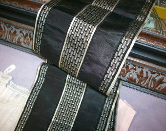 Rare silk black/white design ribbon 4 3/4""