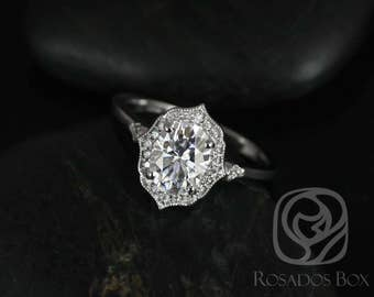 Rosados Box Mae 8x6mm 14kt White Gold Oval F1- Moissanite and Diamond Halo WITH Milgrain Engagement Ring