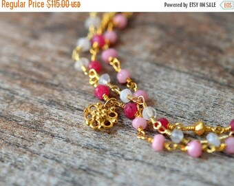 ON SALE Genuine ruby bracelet Multi layer chain bracelet Gold filigree dangle Multistrand bracelet July birthstone Pink gemstone Everyday je