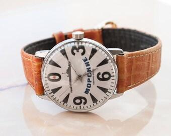 """Vintage wrist watch. RAKETA BIG Zero """"Marine"""". Military watch. Vintage Russian men's watch. Made in USSR"""