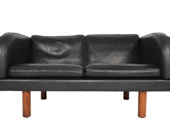 Danish Mid Century Modern Jörgen Gammelgaard Black Leather + Teak Loveseat Sofa EJ20