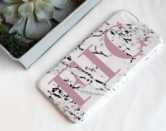 Marble print phone case with large pink initials - iPhone 7PLUS case, Samsung 8 case, Samsung 8PLUS case, iPhone SE case, marbled phone case