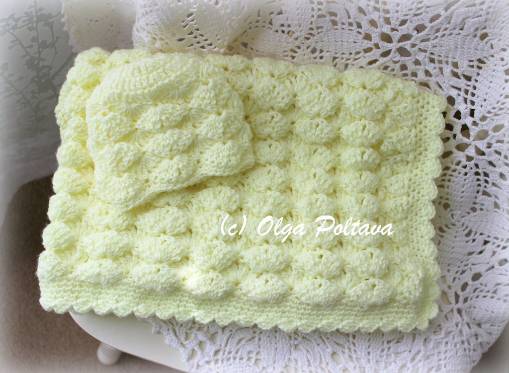Marshmallow Crochet Baby Blanket Pattern : Marshmallow Baby Blanket and Hat Crochet Pattern, Newborn ...
