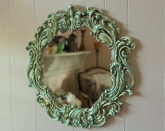 Round Ornate Wall Mirror Hand Painted Aqua with Antique Finish Vintage Burwood Nursery Mirror Shabby Cottage Victorian Décor