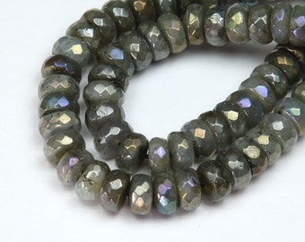 AB Finish Labradorite Beads, 5x8mm Faceted Rondelle - 30 beads - eGX-LB003-5x8