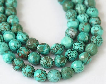 Turquoise Beads, Bluegreen, 8mm Faceted Round - 15 inch Strand - eGF-TU005-8