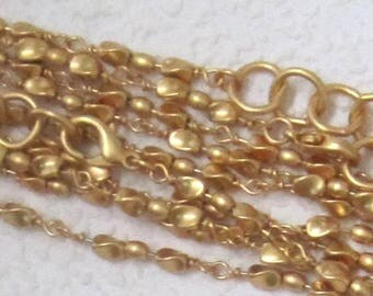 Gold, 16 Inches, Twisted Beaded, Chain Necklace, 15MM Lobster Clasp,With Extension  High Quality STUNNING!!!