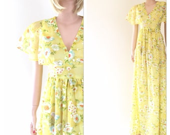 Yellow floral maxi with flounce sleeve, empire waist, fabric belt | size small